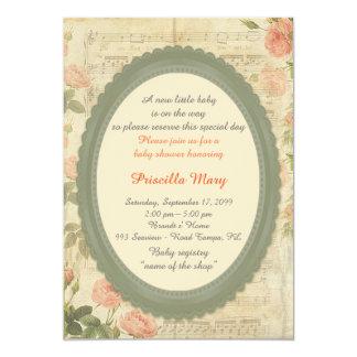 Baby Shower, vintage roses on partition,framework. Card
