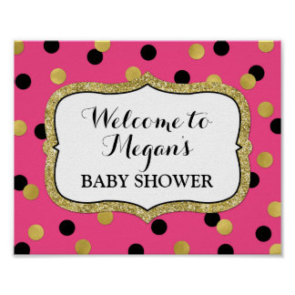 Baby Shower Welcome Fuchsia Black Gold Confetti Poster