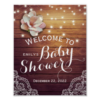 Baby Shower Welcome Sign Floral Lights Wood Lace