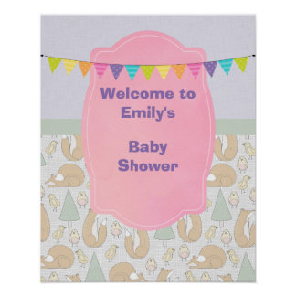 Baby Shower Welcome with Woodland Creatures Poster