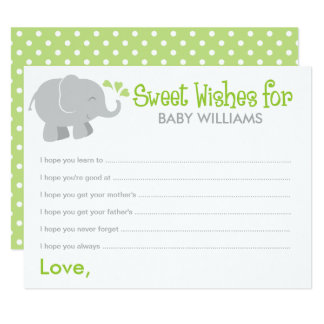 Baby Shower Wish Cards | Elephant Gray and Green