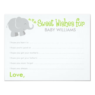 Baby Shower Wish Cards | Elephant Gray and Green 11 Cm X 14 Cm Invitation Card