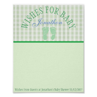 Baby Shower, Wishes for Baby Boy Poster Keepsake