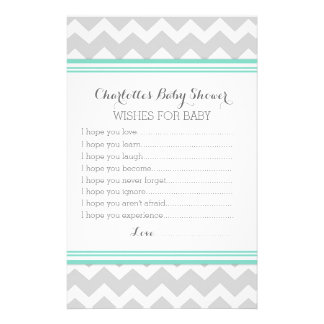 Baby Shower Wishes for Baby Turquoise Grey Chevron Custom Stationery