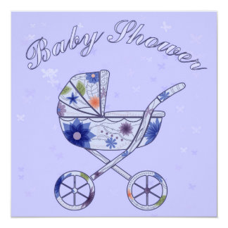 Baby shower with baby carriage blue 13 cm x 13 cm square invitation card