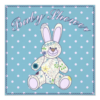 Baby shower with bunny toy blue 13 cm x 13 cm square invitation card