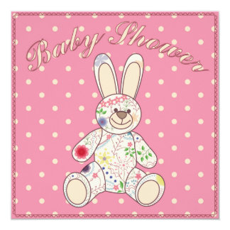 Baby shower with bunny toy pink card