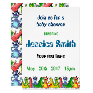 """""""Baby shower"""" with cute little dinosaurs 9 Cm X 13 Cm Invitation Card"""