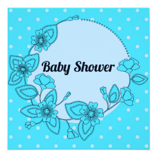 Baby shower with floral frame blue 13 cm x 13 cm square invitation card