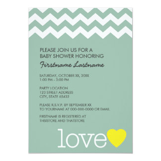 Baby Shower with modern chevrons and heart 13 Cm X 18 Cm Invitation Card