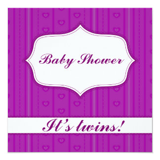 Baby shower with stripes and hearts lilac twins card