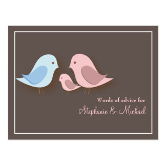 Baby Shower Words of Advice Card Lovebird Family Postcard