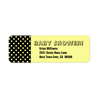 Baby Shower Yellow and Black Polka Dots LA15 Return Address Label