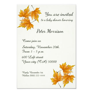Baby Shower Yellow and Gold Maple Leaves Card