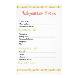 Baby Sitter Note Stationery Paper