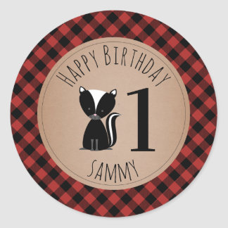Baby Skunk Lumberjack Plaid Birthday Classic Round Sticker
