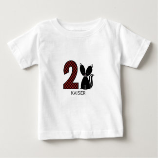 Baby Skunk Plaid Second Birthday Shirt