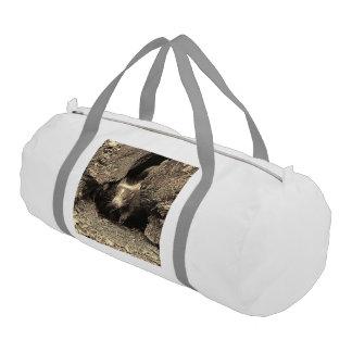 baby skunk, sepia gym duffel bag