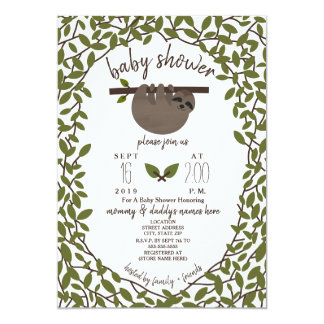 Baby Sloth Baby Shower Greenery Card