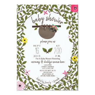 Baby Sloth Girl Baby Shower Greenery Card
