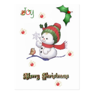 baby snowman talking to a baby bird postcard