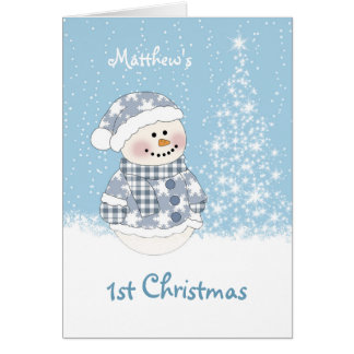 Baby snowman, tree with snow 1st Christmas Greeting Card
