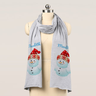 Baby Snowman With Christmas Hat Scarf
