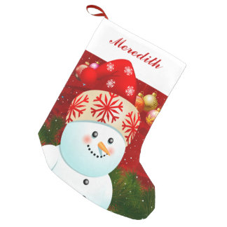 Baby Snowman With Red Santa Hat Small Christmas Stocking