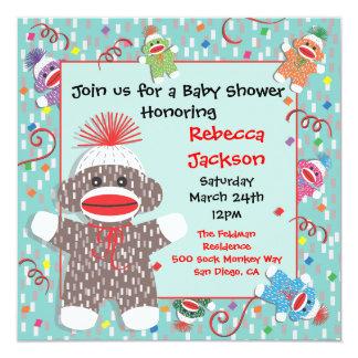 Baby Sock Monkey Baby Shower Invitation