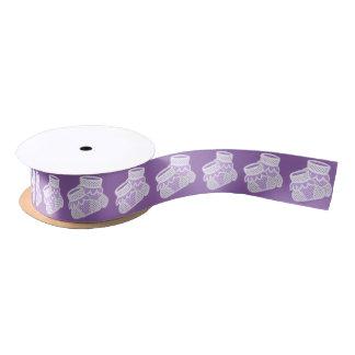 baby socks - purple satin ribbon
