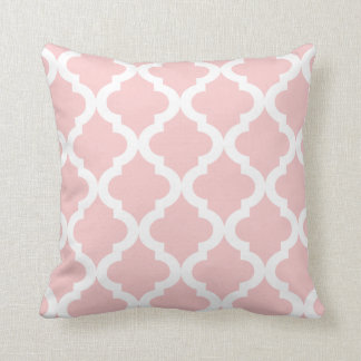 Baby Soft Pink Moroccan Quatrefoil Print Throw Pillow