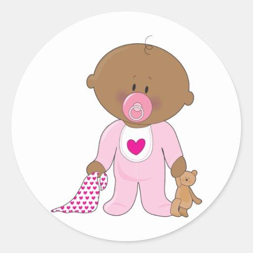 Baby Soother Girl Round Sticker