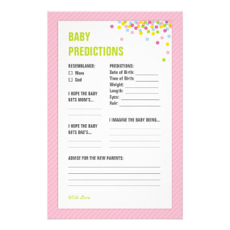 Baby Sprinkle Baby Predictions Card - Pink Stationery Design
