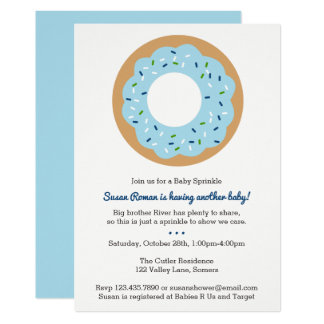 Baby Sprinkle Blue Donut Invitation