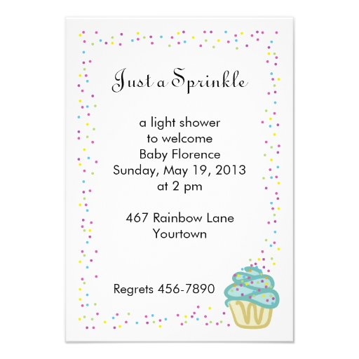 Baby Sprinkle Shower Invitation Blue Cupcake