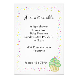Baby Sprinkle Shower Invitation Green Cupcake