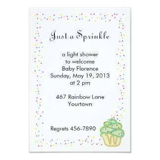Baby Sprinkle Shower Invitation Green Cupcake