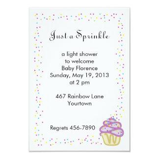 "Baby Sprinkle Shower Invitation Purple Cupcake 3.5"" X 5"" Invitation Card"
