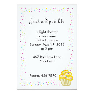 Baby Sprinkle Shower Invitation Yellow Cupcake