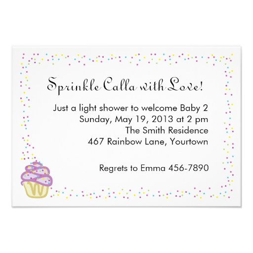 Baby Sprinkle Shower Invite with Purple Cupcake