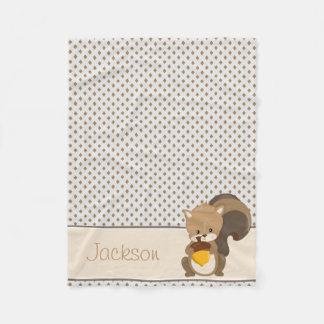 Baby Squirrel & Diamonds| Personalized Fleece Blanket