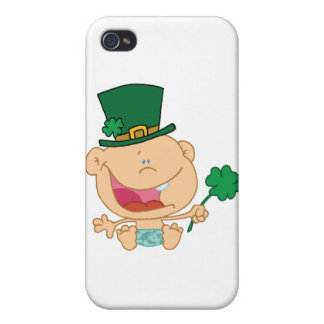 Baby St Patrick's Day Boy In A Diaper And Hat Cases For iPhone 4