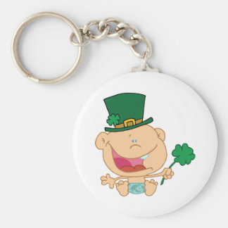 Baby St Patrick's Day Boy In A Diaper And Hat Basic Round Button Key Ring