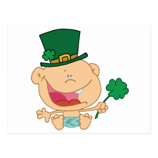 Baby St Patrick's Day Boy In A Diaper And Hat Postcard