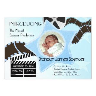 Baby Star is Born Blue 13 Cm X 18 Cm Invitation Card