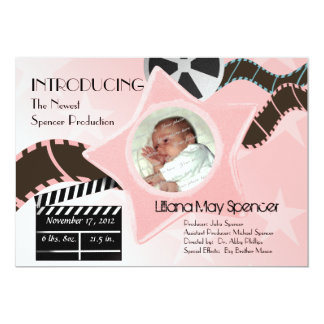 Baby Star is Born Pink Birth Announcement