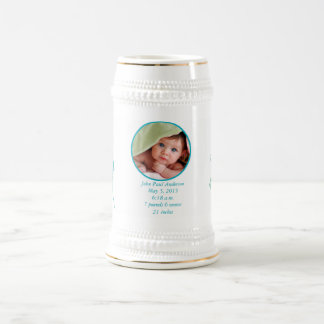 Baby Stein with Baby Photo Important Birth Stats Coffee Mugs
