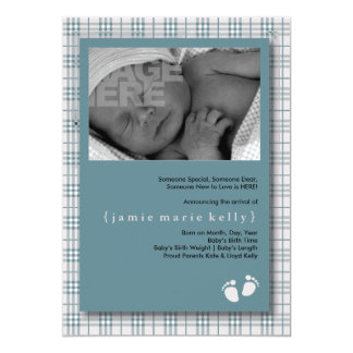 Baby Steps Birth Announcement - Baby Blue Plaid