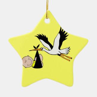 Baby & Stork - Bundle of Joy Ceramic Ornament