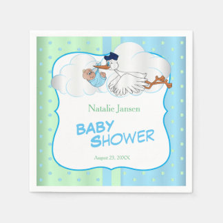 Baby Stork with a Cute Little Baby Boy Paper Napkin
